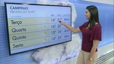 Primeira semana do inverno tem sol e tempo firme; veja a previsão desta terça-feira (22) - Em Águas de Lindoia (SP), mínima será de 11ºC e máxima de 22ºC.