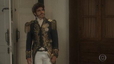 Pedro se irrita com Bonifácio - O ministro lembra Dom Pedro do jantar com os liberais e deixa o príncipe chateado