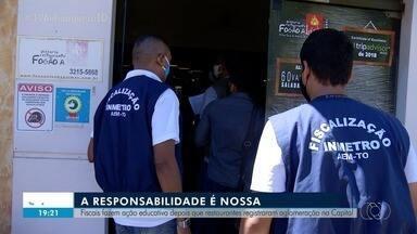 Fiscais fazem operação para evitar aglomerações em restaurantes de Palmas - Fiscais fazem operação para evitar aglomerações em restaurantes de Palmas