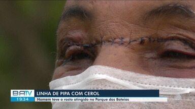 Perigo: motociclista sofre ferimento na altura dos olhos com linha de 'cerol' - A vítima passava pelo local onde pessoas empinavam pipas. O acidente por pouco não foi fatal.
