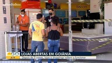 Após três meses, lojas de rua e shoppings voltam a funcionar em Goiânia - Acompanhe como foi essa retomada.