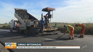 Obras na estrada da Ceasa em Piracicaba são retomadas após 10 meses de espera - A restauração estava parada desde agosto do ano passado e, com a retomada, neste ano, a estrada recebeu um asfalto novo.