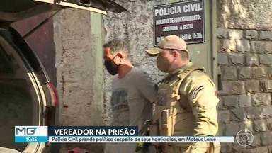 Vereador Reginaldo Teixeira Rodrigues (PTC) é preso em casa, em Mateus Leme - De acordo com a delegada Ligia Mantovani, trata-se de uma pessoa temida na cidade. Reginaldo Teixeira Rodrigues é suspeito de envolvimento em homicídios ocorridos em Mateus Leme, desde 2004.