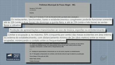 Decreto altera funcionamento de bares e restaurantes em Pouso Alegre, MG - Decreto altera funcionamento de bares e restaurantes em Pouso Alegre, MG