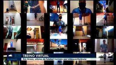 Jovens jogadores mantêm forma física com treinos pela internet em Araxá - Atletas do sub-15 e do sub-17 do Dínamo fazem em casa exercícios indicados pelo clube de olho no Campeonato Mineiro de base.