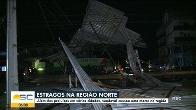 Norte catarinense tem prejuízos após vendaval e uma morte na região - Norte catarinense tem prejuízos após vendaval e uma morte na região
