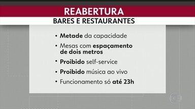 Restaurantes e bares reabrem hoje no Rio - Restaurantes e bares reabrem hioje com restrições como metade da capacidade , proibido self-service , proibido música ao vivo e o horário só até 11 da noite 3ª fase do plano de reabertura da prefeitura