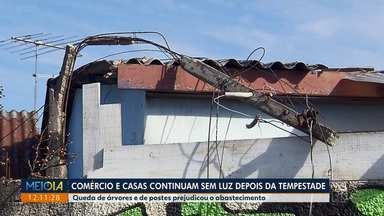 Comércios e casas continuam sem luz depois da tempestade - Quedas de árvores e de postes prejudicaram o abastecimento de energia elétrica.