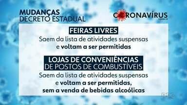 Governo Estadual altera decreto com medidas de combate ao coronavírus - As mudanças liberaram o funcionamento das feiras livres e de lojas de conveniências em postos de combustíveis.