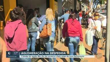 Covid: cidades da região de Campinas têm dia de comércio cheio antes de novo fechamento - Ao todo, 42 municípios voltam para a fase vermelha do Plano SP na segunda-feira (6), etapa mais severa do planejamento sobre atividades econômicas duranta pandemia.