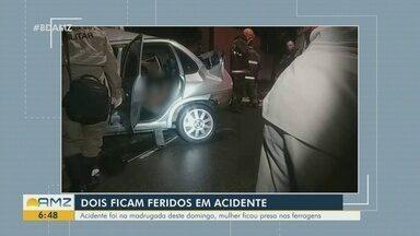 Duas pessoas ficam feridas após acidente de carro - Acidente ocorreu na madrugada de domingo.
