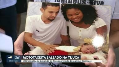 DH indicia policial militar por morte do mototaxista Matheus Oliveira, na Tijuca - PM do batalhão da Tijuca não teve a identidade revelada. Investigadores dizem que a prisão dele não foi pedida porque o policial colaborou com as investigações. Confronto balístico provou que disparo partiu de pistola do PM.