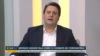 Governador fala sobre combate ao coronavírus - Ratinho Junior disse que as medidas mais restritivas já estão dando resultados positivos.