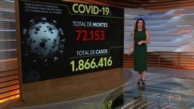 Brasil tem 72.153 mortes por coronavírus, diz consórcio - O Brasil tem 72.153 mortes por coronavírus confirmadas até as 8h desta segunda-feira (13), segundo levantamento do consórcio de veículos de imprensa a partir de dados das secretarias estaduais de Saúde.