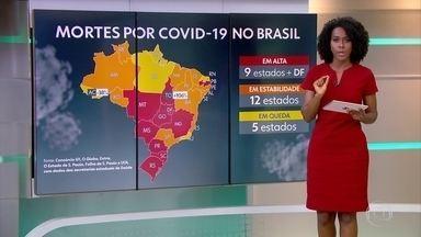 Em 9 estados, o número de novas mortes de Covid-19 está subindo - Dados são do consórcio dos veículos de imprensa.
