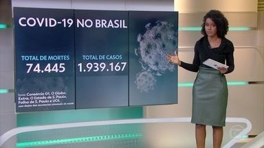 Brasil tem 74.445 óbitos e 1.939.167 casos confirmados de Covid-19, segundo consórcio - Com média móvel de 1.056 mortes por dia, os últimos sete dias foram os mais letais no país.