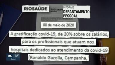 Profissionais da linha de frente da Covid-19 estão recebendo gratificação na Rio Saúde - A prefeitura do Rio está pagando um bônus de 20% para profissionais da Rio Saúde que estejam na linha frente no combate à pandemia. Só que em vez de enfermeiros e técnicos, quem está recebendo são os servidores que trabalham na sede da empresa.