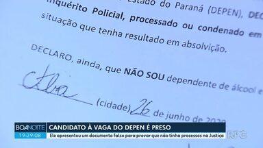 Candidato é vaga do Depen é preso em Curitiba - Ele apresentou um documento falso para provar que não tinha processos na Justiça.
