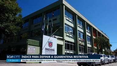 Índice Paraná foi um dos critérios usados para definir a quarentena restritiva no Paraná - Cálculo leva em conta taxa de mortes e casos por população, além da taxa de ocupação de leitos de UTI.