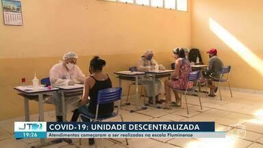 Escola Fluminense, no bairro Santa Clara, recebe atendimentos da unidade descentralizada - Pessoas com sintomas gripais devem procurar a escola para receber medicamentos e testes rápidos.