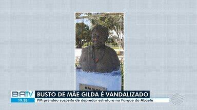 Busto de Mãe Gilda é vandalizado pela segunda vez desde a implantação, no Parque Abaeté - Homem acusado de praticar o crime foi preso no local, nesta quarta-feira (15).