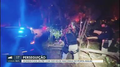 Agentes da Polícia Rodoviária perseguiram motorista que fugiu de fiscalização - Homem levava 500 kg de maconha no porta-malas.
