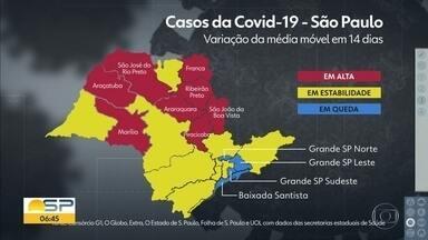 Mapa mostra a variação da média móvel em 14 dias no estado - Dado é uma das variáveis levadas em conta para a mudança de fase no Plano SP.