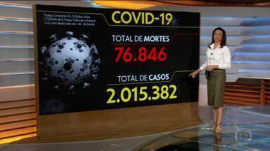 Brasil atinge 2 milhões de casos de coronavírus - O Brasil tem 76.846 mortes por coronavírus confirmadas até as 8h desta sexta-feira (17), segundo levantamento do consórcio de veículos de imprensa a partir de dados das secretarias estaduais de Saúde.