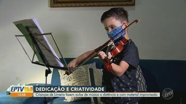 Crianças de Limeira fazem aulas de música à distância com material improvisado - Com dedicação e criatividade, alunos adaptaram materiais para continuar a prática do violino.