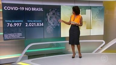 Brasil tem 76.997 mortes causadas pela Covid-19, segundo consócio de veículos de imprensa - Nesta sexta-feira (17), foram contabilizados 2.021.834 brasileiros infectados desde o começo da pandemia.