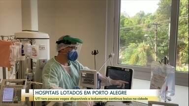 Taxa de ocupação dos leitos de UTI chega a 91% em Porto Alegre - Mesmo com hospitais lotados e o crescimento do número de casos de COVID-19, isolamento social continua abaixo dos 55% na cidade.
