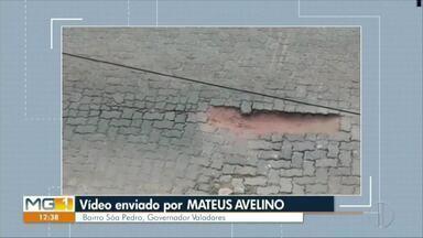 VC no MG: moradora de Ipatinga mostra vazamento de esgoto no bairro Jardim Panorama - Segundo ela, várias ligações já foram feitas para a Copasa, mas o problema não resolve.