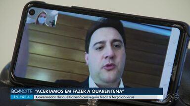 Ratinho Junior faz uma avaliação dos resultados da chamada quarentena restritiva - Governador diz que acertou na decisão de impor o decreto em várias regiões do estado e que medidas restritivas podem ser adotadas novamente.