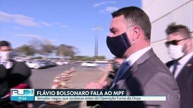 Flavio Bolsonaro fala ao MPF - Senador deu depoimento sobre suposto vazamento da operação Furna da Onça em 2018.
