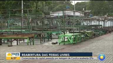 Feiras livres reabrem em João Pessoa, nesta segunda-feira (21) - Comerciantes passaram por teste de Covid-19.