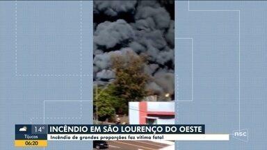Homem morre após incêndio em indústria em São Lourenço do Oeste - Homem morre após incêndio em indústria em São Lourenço do Oeste