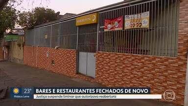 Bares e restaurantes fechados de novo - Justiça suspende liminar que autorizava reabertura. PBH e representantes do setor se reúnem na tarde de quinta-feira.