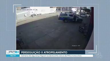 Câmeras de segurança flagram momento em que motociclista é atropela por viatura da PM - Caso aconteceu durante perseguição pelas ruas de Ji-Paraná