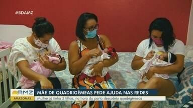 Mãe que esperava trigêmeas descobre quarta filha 'surpresa' na hora do parto em Manaus - Durante sete meses, mulher e médicos acreditavam que gestação era de trigêmeos. Família, que já tinha três filhos, se 'reorganiza' para nova vida.