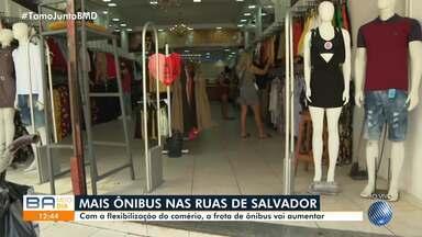 Frota de ônibus aumenta por causa da flexibilização da reabertura do comércio em Salvador - Confira como vai ser o fluxo do transporte coletivo nesta primeira fase.