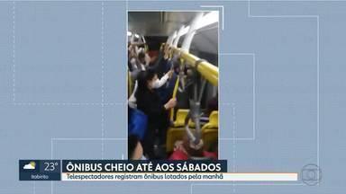 Telespectadores registram ônibus lotados neste sábado - Passageiros se aglomeraram nas linhas 512H e 6450 hoje de manhã.