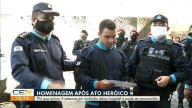 Policial Militar que salvou 4 pessoas em incêndio deixa hospital e pode ser promovido - Saiba mais em: g1.com.br/ce