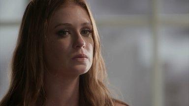 Eliza tira o roupão e diz estar pronta para as fotos - Arthur encoraja a pupila e assegura que Dino não fará mais mal a ela