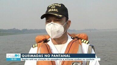 Região do Pantanal está em situação de emergência e militares ajudam no combate - Região do Pantanal está em situação de emergência e militares ajudam no combate