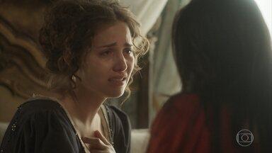 Leopoldina sofre com a notícia da gravidez de Domitila - Joaquim vai ao jornal pedir a ajuda de Cecília. Anna consola Leopoldina, que sofre com a possibilidade de perder Dom Pedro de vez. Domitila se enfurece com elogio de Pedro a Leopoldina