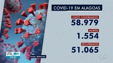 Mortes por Covid-19 em AL sobem para 1.554 - Entre os 58.979 casos confirmados no estado, 51.065 pessoas já conseguiram se recuperar da doença.