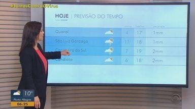 Frio reduz e sol predomina no RS nesta sexta-feira (31) - Chuva pode se aproximar do Estado no fim do dia entre a Fronteira e o Sul.
