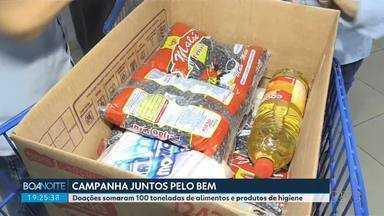"""Campanha """"Juntos Pelo Bem"""" arrecada 100 toneladas de alimentos e produtos de higiene - Doações foram distribuídas para instituições de todo o Paraná. Plataforma da RPC ajudou a unir empresas que queriam ajudar e entidades que precisavam de ajuda."""