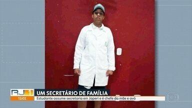 Estudante assume secretaria de Meio Ambiente de Japeri e é chefe da mãe e da avó - Yuri Santos Oliveira, de 19 anos, é estudante e nenhuma experiência na área. Moradores da cidade dizem que eles foram cabos eleitorais do ex-secretário, Kerly Lops, e que todos são próximos do ex-prefeito Carlos Moraes.