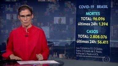 Brasil passa de 96 mil mortos pelo novo coronavírus - De segunda (3) para quarta (4) foram confirmados mais 1.394 óbitos, segundo os dados coletados pelo consórcio de veículos de imprensa.